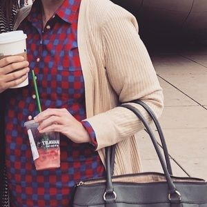 Red and blue plaid pintuck flannel. J Crew.